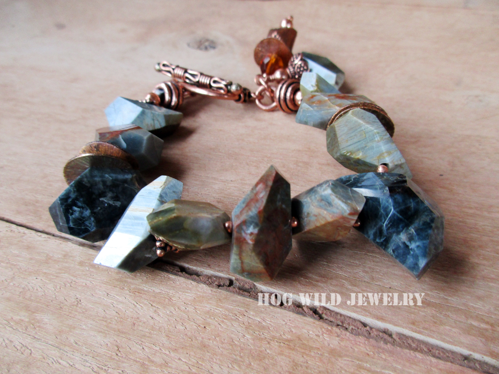 74b91aabc The Shop. The Shop Handcrafted Womens Jasper Gemstone Copper Chunky Bracelet