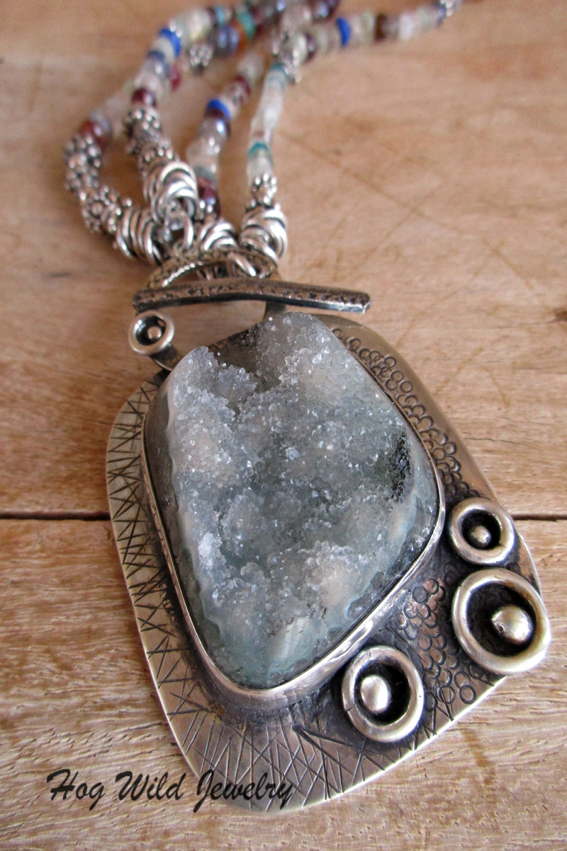 Womens handcrafted silver smith smoky green druzy crystal pendant the shop the shop womens handcrafted silver smith smoky green druzy crystal pendant necklace aloadofball Gallery